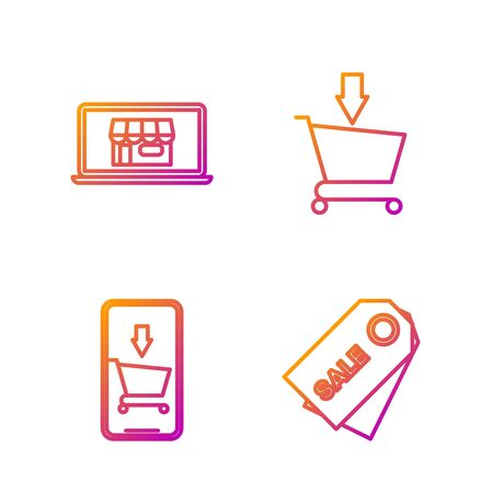 Set line Price tag with an inscription Sale, Mobile phone and shopping cart, Shopping building on screen laptop and Add to Shopping cart. Gradient color icons. Vector
