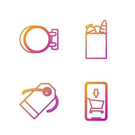 Set line Mobile phone and shopping cart, Blank label template price tag, Signboard hanging and Paper shopping bag and food. Gradient color icons. Vector