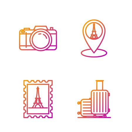 Set line Suitcase for travel, Postal stamp and Eiffel tower, Photo camera and Map pointer with Eiffel tower. Gradient color icons. Vector Иллюстрация
