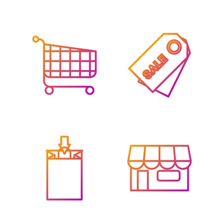Set line Shopping building or market store, Paper shopping bag, Shopping cart and Price tag with an inscription Sale. Gradient color icons. Vector