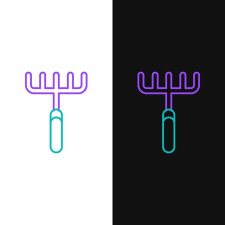 Green and purple line Garden rake icon isolated on white and black background. Tool for horticulture, agriculture, farming. Ground cultivator. Housekeeping equipment.  Vector Illustration