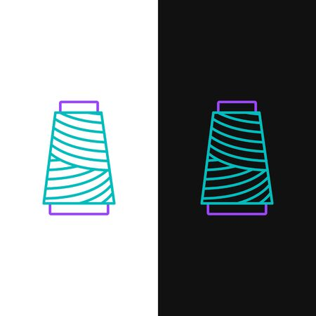 Green and purple line Sewing thread on spool icon isolated on white and black background. Yarn spool. Thread bobbin.  Vector Illustration