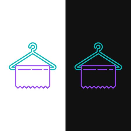 Green and purple line Hanger wardrobe icon isolated on white and black background. Clean towel sign. Cloakroom icon. Clothes service symbol. Laundry hanger sign.  Vector Illustration Иллюстрация