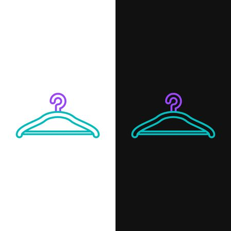 Green and purple line Hanger wardrobe icon isolated on white and black background. Cloakroom icon. Clothes service symbol. Laundry hanger sign.  Vector Illustration