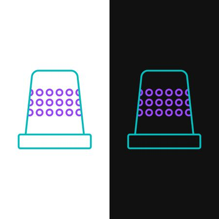 Green and purple line Thimble for sewing icon isolated on white and black background.  Vector Illustration