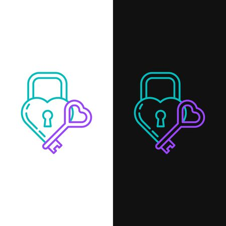 Green and purple line Castle in the shape of a heart and key icon isolated on white and black background. Locked Heart. Love symbol and keyhole sign.  Vector Illustration Illusztráció