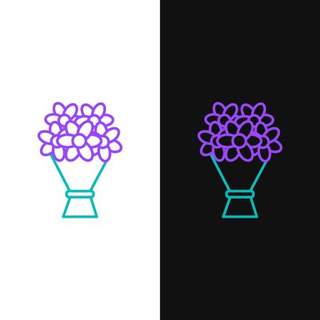 Green and purple line Bouquet of flowers icon isolated on white and black background. Vector Illustration