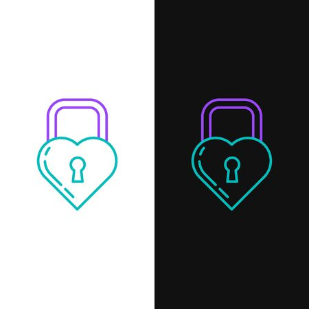 Green and purple line Castle in the shape of a heart icon isolated on white and black background. Locked Heart. Love symbol and keyhole sign. Vector Illustration