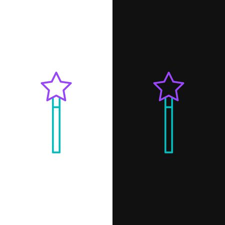 Green and purple line Magic wand icon isolated on white and black background. Star shape magic accessory. Magical power.  Vector Illustration