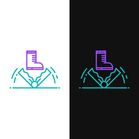 Green and purple line Trap hunting icon isolated on white and black background. Vector Illustration