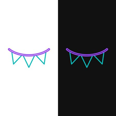 Green and purple line Carnival garland with flags icon isolated on white and black background. Party pennants for birthday celebration, festival and fair decoration.  Vector Illustration Illustration
