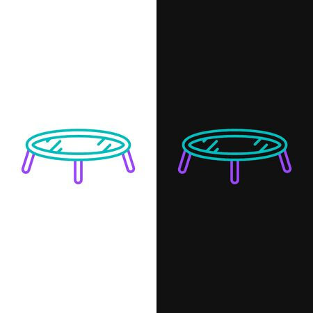Green and purple line Jumping trampoline icon isolated on white and black background.  Vector Illustration