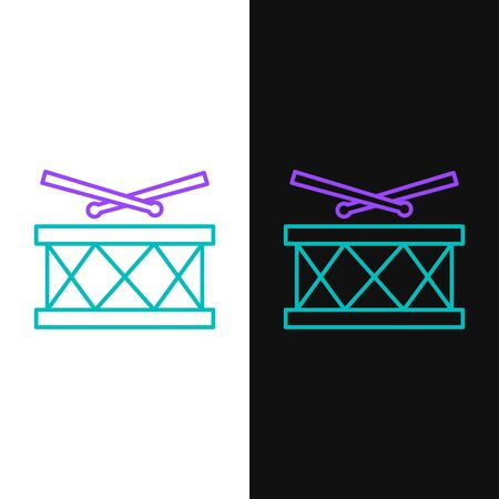 Green and purple line Drum with drum sticks icon isolated on white and black background. Music sign. Musical instrument symbol.  Vector Illustration