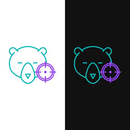 Green and purple line Hunt on bear with crosshairs icon isolated on white and black background. Hunting club logo with bear and target. Rifle lens aiming a bear. Vector Illustration