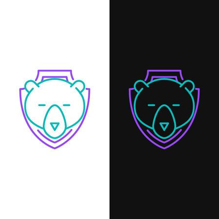 Green and purple line Bear head on shield icon isolated on white and black background. Hunting trophy on wall. Vector Illustration