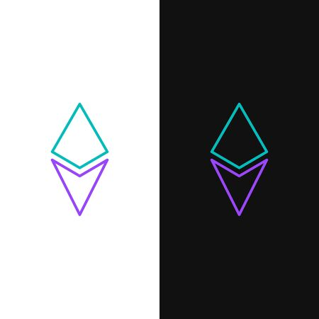 Green and purple line Cryptocurrency coin Ethereum ETH icon isolated on white and black background. Altcoin symbol. Blockchain based secure crypto currency.  Vector Illustration