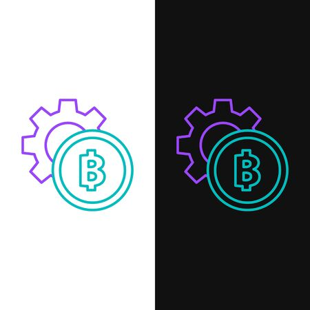 Green and purple line Cryptocurrency coin Bitcoin icon isolated on white and black background. Gear and Bitcoin setting. Blockchain based secure crypto currency.  Vector Illustration Ilustração
