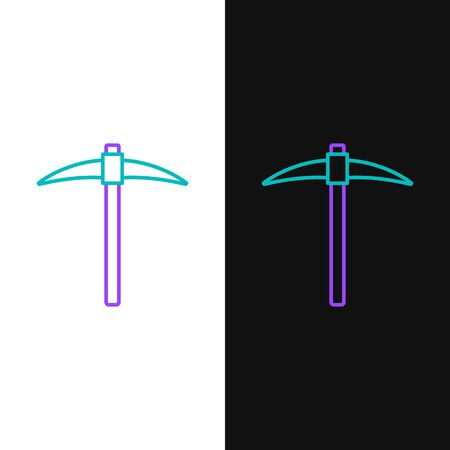 Green and purple line Pickaxe icon isolated on white and black background. Blockchain technology, cryptocurrency mining, bitcoin, digital money market, cryptocoin wallet.  Vector Illustration Vectores