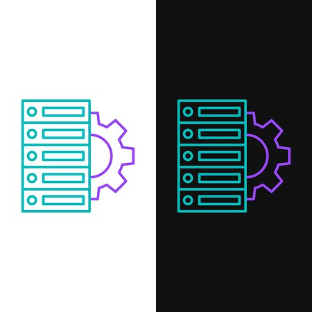 Green and purple line Server and gear icon isolated on white and black background. Adjusting app, service concept, setting options, maintenance, repair, fixing.  Vector Illustration Ilustração