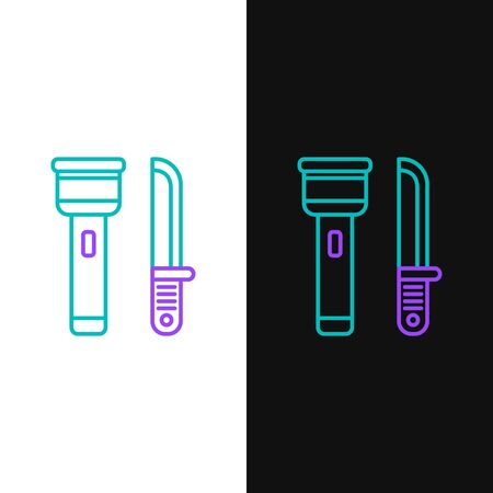 Green and purple line Flashlight and knife icon isolated on white and black background.  Vector Illustration