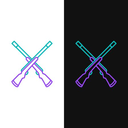 Green and purple line Two crossed shotguns icon isolated on white and black background. Hunting gun. Vector Illustration