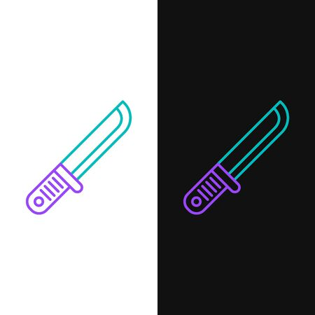 Green and purple line Hunter knife icon isolated on white and black background. Army knife. Vector Illustration  イラスト・ベクター素材