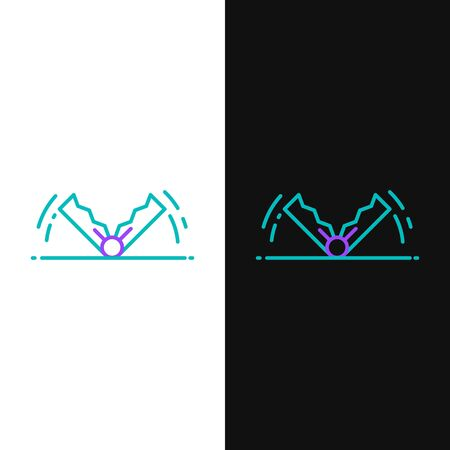 Green and purple line Trap hunting icon isolated on white and black background. Vector Illustration 向量圖像
