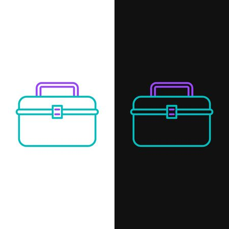 Green and purple line Case or box container for wobbler and gear fishing equipment icon isolated on white and black background. Fishing tackle. Vector Illustration Illustration