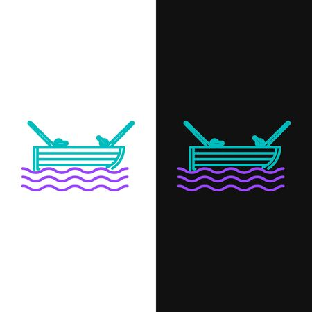 Green and purple line Fishing boat with fishing rod on water icon isolated on white and black background. Vector Illustration