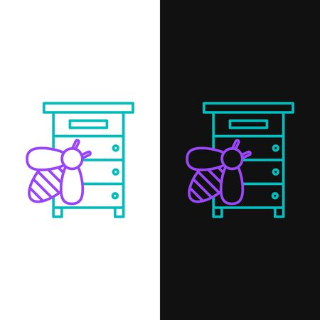 Green and purple line Hive for bees icon isolated on white and black background. Beehive symbol. Apiary and beekeeping. Sweet natural food. Vector Illustration