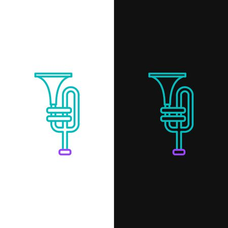 Green and purple line Musical instrument trumpet icon isolated on white and black background. Vector Illustration Vector Illustration