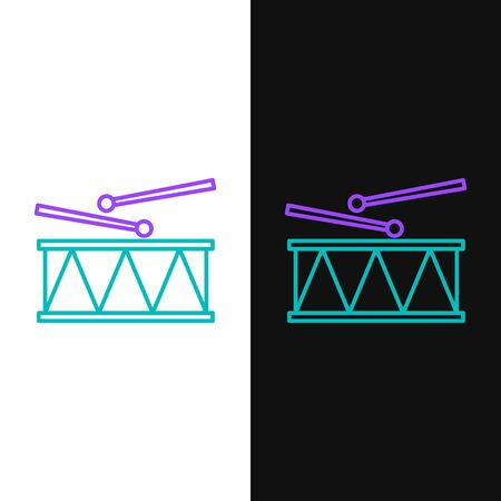 Green and purple line Musical instrument drum and drum sticks icon isolated on white and black background.  Vector Illustration Illusztráció
