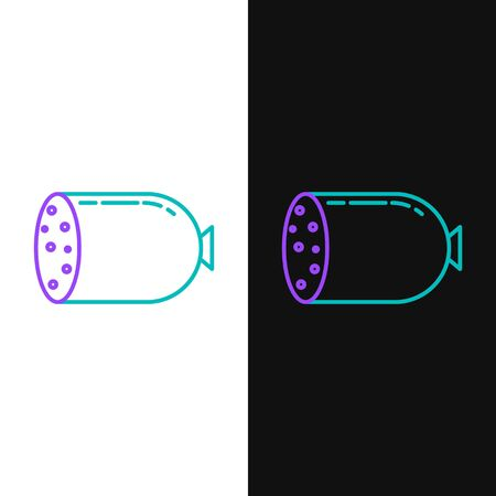 Green and purple line Salami sausage icon isolated on white and black background. Meat delicatessen product.  Vector Illustration
