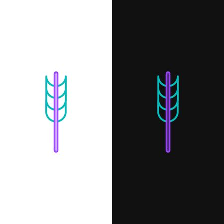 Green and purple line Cereals set with rice, wheat, corn, oats, rye, barley icon isolated on white and black background. Ears of wheat bread symbols.  Vector Illustration