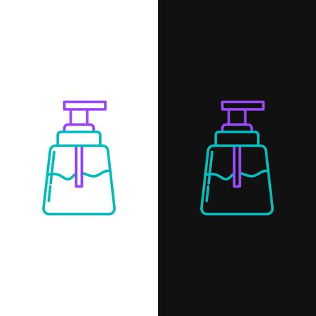 Green and purple line Aftershave icon isolated on white and black background. Cologne spray icon. Male perfume bottle. Vector Illustration
