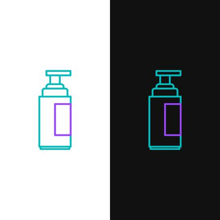 Green and purple line Cream or lotion cosmetic tube icon isolated on white and black background. Body care products for men.  Vector Illustration