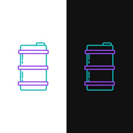 Green and purple line Metal beer keg icon isolated on white and black background.  Vector Illustration