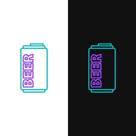 Green and purple line Beer can icon isolated on white and black background.  Vector Illustration Illustration