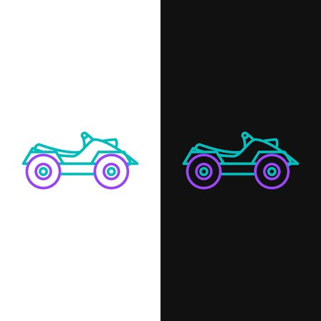 Línea verde y púrpura Vehículo todo terreno o icono de motocicleta ATV aislado sobre fondo blanco y negro. Cuatrimoto. Deporte extremo. Ilustración vectorial
