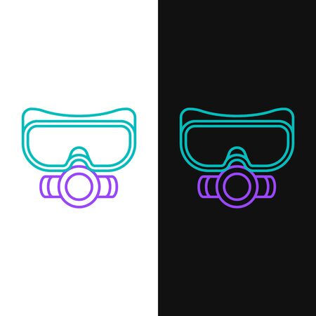 Green and purple line Diving mask icon isolated on white and black background. Extreme sport. Sport equipment.  Vector Illustration