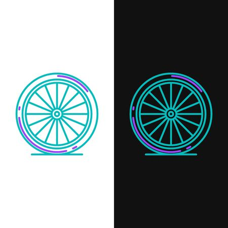 Green and purple line Bicycle wheel icon isolated on white and black background. Bike race. Extreme sport. Sport equipment.  Vector Illustration