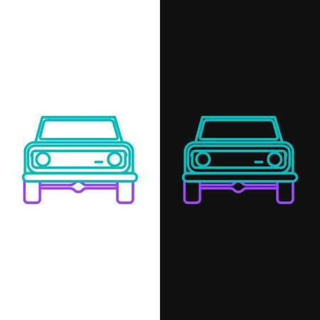Green and purple line Off road car icon isolated on white and black background.