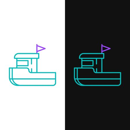 Green and purple line Fishing boat icon isolated on white and black background. Vector Illustration