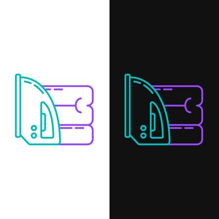 Green and purple line Electric iron and towel icon isolated on white and black background. Steam iron.  Vector Illustration