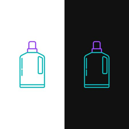 Green and purple line Plastic bottle for liquid laundry detergent, bleach, dishwashing liquid or another cleaning agent icon isolated on white and black background. Vector Illustration 일러스트