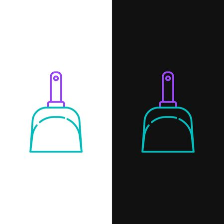 Green and purple line Dustpan icon isolated on white and black background. Cleaning scoop services. Vector Illustration