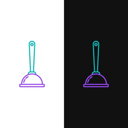 Green and purple line Rubber plunger with wooden handle for pipe cleaning icon isolated on white and black background. Toilet plunger. Vector Illustration