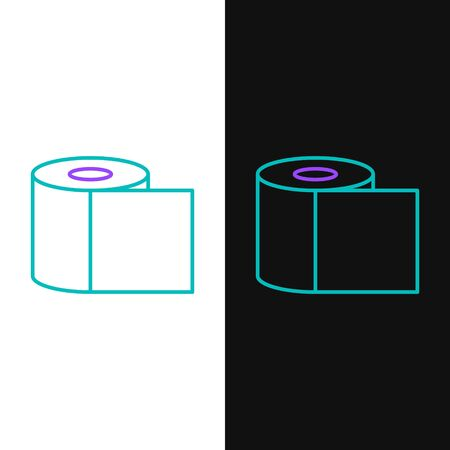 Green and purple line Toilet paper roll icon isolated on white and black background. Vector Illustration Иллюстрация