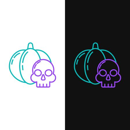 Green and purple line Pumpkin and skull icon isolated on white and black background. Happy Halloween party. Vector Illustration Illusztráció