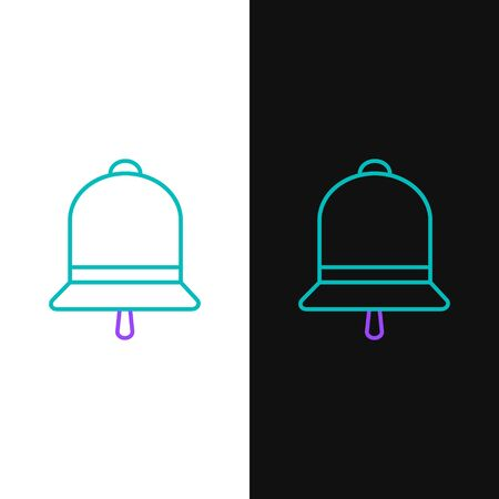 Green and purple line Ringing bell icon isolated on white and black background. Alarm symbol, service bell, handbell sign, notification symbol. Vector Illustration  イラスト・ベクター素材